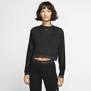 Nike Pro Women's Long-Sleeve Mesh Crop Top