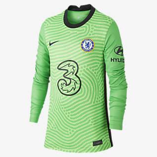 Chelsea FC 2020/21 Stadyum Kaleci Uzun Kollu Genç Çocuk Futbol Forması