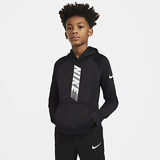 Nike Therma Sudadera con capucha sin cierre con gráfico de entrenamiento para niños talla grande