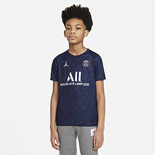 Paris Saint-Germain Home Older Kids' Pre-Match Short-Sleeve Football Top