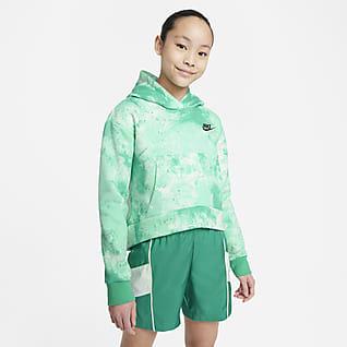 Nike Sportswear Club Sudadera con capucha sin cierre para niña talla grande