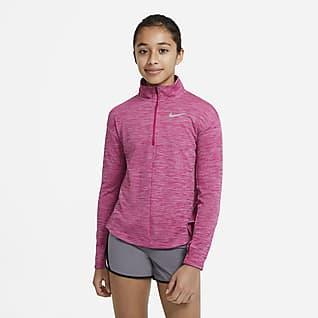 Nike Prenda superior de running de manga larga y cierre de 1/2 para niña talla grande