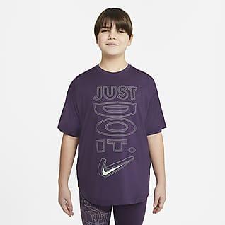 Nike Dri-FIT Camiseta de entrenamiento de manga corta para niña talla grande (talla extendida)