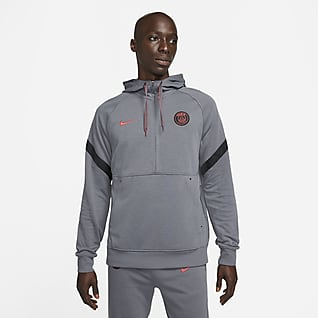 Paris Saint-Germain Felpa da calcio in fleece con cappuccio e zip a metà lunghezza - Uomo