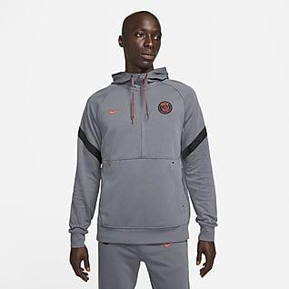 Paris Saint-Germain Sudadera con gorro de fútbol de tejido Fleece y medio cierre para hombre