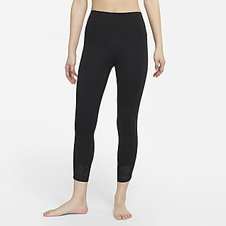 Nike Yoga Dri-FIT 女款高腰網布飾邊九分內搭褲