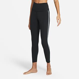 Nike Yoga Женские слегка укороченные леггинсы с обвязкой крючком по краю