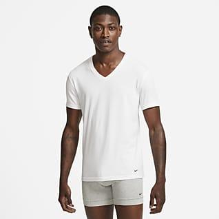 Nike Everyday Cotton Stretch Camiseta interior de cuello en V de ajuste entallado para hombre (paquete de 2)