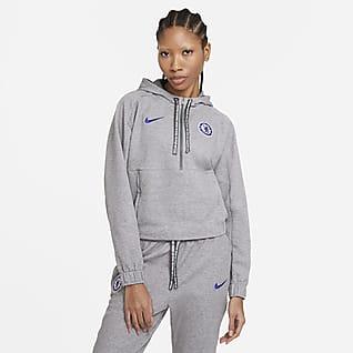Chelsea FC Sudadera con capucha de fútbol corta de medio cierre para mujer