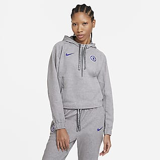 Chelsea FC Sweat à capuche de football court à demi-zip pour Femme