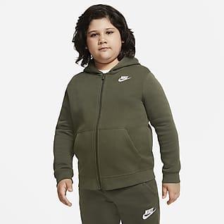 Nike Sportswear Club Fleece Big Kids' (Boys') Full-Zip Hoodie (Extended Size)