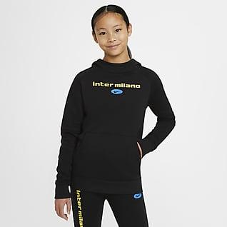 Inter Mediolan Dzianinowa bluza piłkarska z kapturem dla dużych dzieci