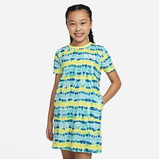 Nike Sportswear Vestido playera teñida para niña talla grande