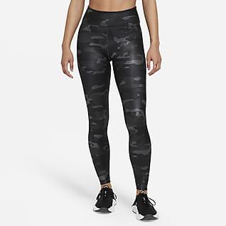Nike Dri-FIT One Legging met halfhoge taille en camouflageprint voor dames