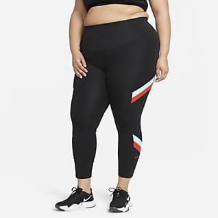 Nike One Normal Belli 7/8 Renk Bloklu Çizgili Kadın Taytı (Büyük Beden)