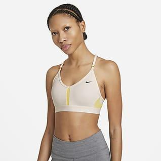 Nike Dri-FIT Indy Sports-bh med V-hals, indlæg og let støtte til kvinder