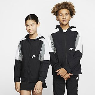 Nike Sportswear Tkaná bunda se zipem po celé délce pro větší děti (chlapce)