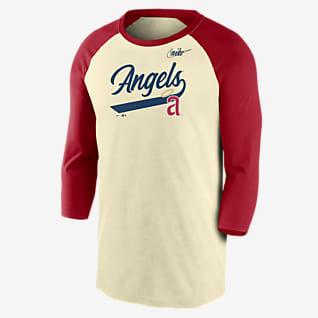 Nike Cooperstown Script (MLB Los Angeles Angels) Men's 3/4-Sleeve T-Shirt