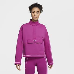 Nike Sportswear Swoosh Prenda para la parte superior de tejido Fleece con medio cierre para mujer