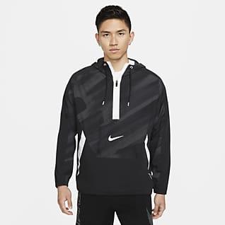 Nike Dri-FIT Sport Clash เสื้อเทรนนิ่งมีฮู้ดซิปสั้นแบบทอผู้ชาย