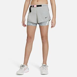 Nike Tempo กางเกงวิ่งขาสั้นเด็กโตมัดย้อม (หญิง)