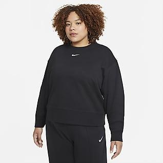 Nike Sportswear Collection Essentials Oversized fleecetop met ronde hals voor dames (Plus Size)