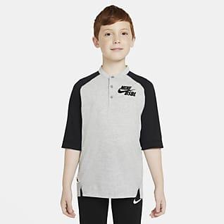 Nike Dri-FIT Flux Camiseta de béisbol de manga 3/4 para niño talla grande