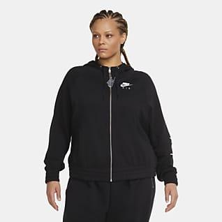 Nike Air Fleecehuvtröja med hel dragkedja för kvinnor (Plus Size)