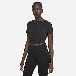 Nike Dri-FIT One Luxe Top Standard Fit a manica corta incrociato - Donna