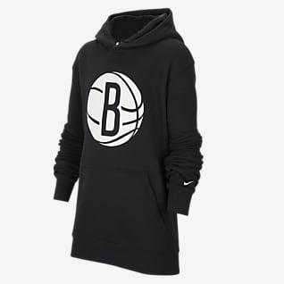 Brooklyn Nets Essential Mikina Nike NBA s kapucí pro větší děti