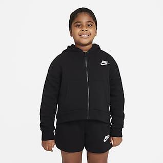 Nike Sportswear Club Fleece Hættetrøje (udvidet størrelse) med lynlås i fuld længde til store børn (piger)