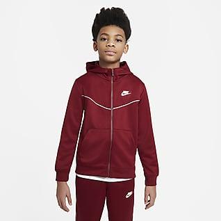 Nike Sportswear Huvtröja med dragkedja i fullängd för ungdom (killar)