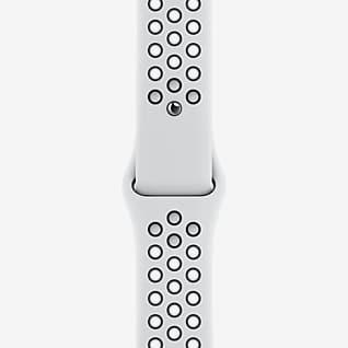 45mm Pure Platinum/Schwarz Nike Sportarmband – Normalgröße