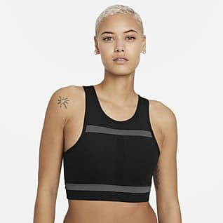 Nike Dri-FIT Swoosh Run Division Sport-BH mit mittlerem Halt, einteiligem Polster und langem Design für Damen