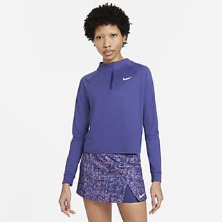 NikeCourt Dri-FIT Victory Dámská tenisová mikina sdlouhým rukávem apolovičním zipem