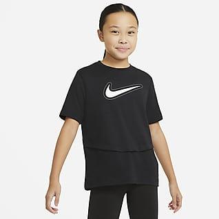 Nike Dri-FIT Trophy Rövid ujjú edzőfelső nagyobb gyerekeknek (lányok)