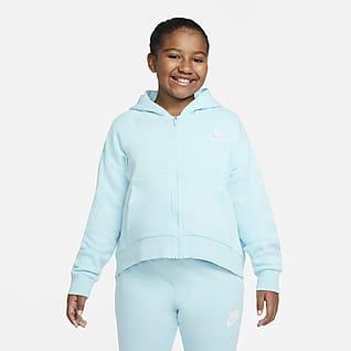 Nike Sportswear Club Fleece Big Kids' (Girls') Full-Zip Hoodie (Extended Size)