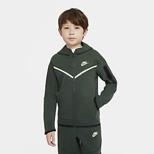 Nike Sportswear Tech Fleece Hettejakke med hel glidelås til store barn (gutt)