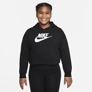 Nike Sportswear Club Frottéhettegenser til store barn (jente) (utvidet størrelse)