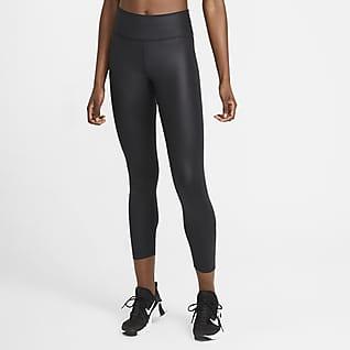 Nike One Женские слегка укороченные леггинсы со средней посадкой и принтом с имитацией синтетической кожи