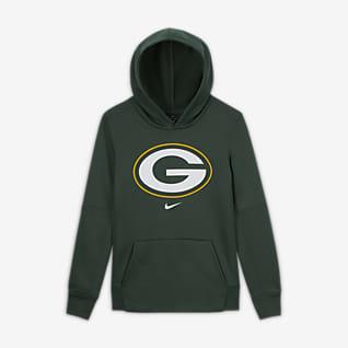 Nike Essential Green Bay Packers Μπλούζα με κουκούλα και λογότυπο για μεγάλα αγόρια