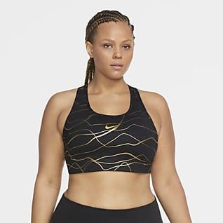 Nike Swoosh Icon Clash Brassière de sport non rembourrée à maintien normal imprimée pour Femme (Grande taille)