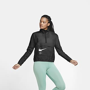 Nike Swoosh Run Pullover-løbejakke til kvinder