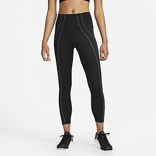 Nike Yoga Dri-FIT 7/8-Leggings mit hohem Taillenbund und Metallic-Besatz für Damen