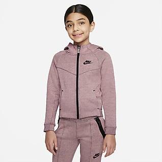 Nike Sportswear Tech Fleece Sudadera con gorro de cierre completo para niños talla pequeña