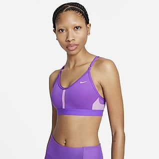Nike Dri-FIT Indy Sports-BH med V-hals, polstring og lett støtte til dame
