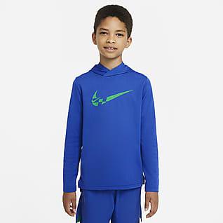 Nike Parte superior de entrenamiento con capucha de manga larga para niños talla grande