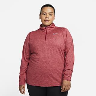 Nike Løbetrøje med halv lynlås til kvinder (Plus size)