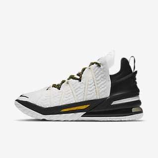 LeBron 18 'White/Black/Gold' Basketball Shoe