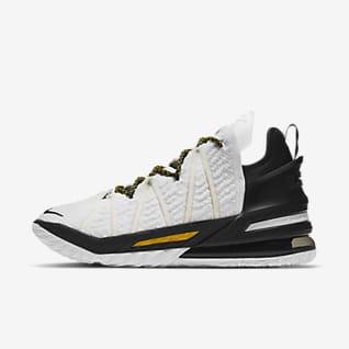LeBron 18 'White/Black/Gold' Basketball Shoes